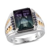 Bi-color Fluorite, Tanzanite 14K YG and Platinum Over Sterling Silver Men's Ring (Size 14.0) TGW 15.350 cts.