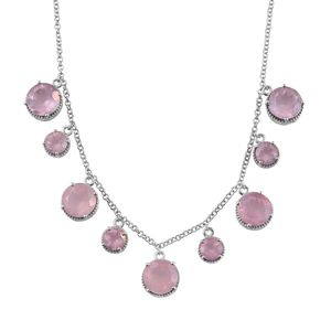 Galilea Rose Quartz Platinum Over Sterling Silver Necklace (18 in) TGW 38.60 cts.