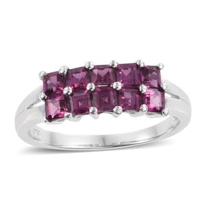 Purple Garnet Platinum Over Sterling Silver Two Row Split Ring (Size 7.0) TGW 2.02 cts.