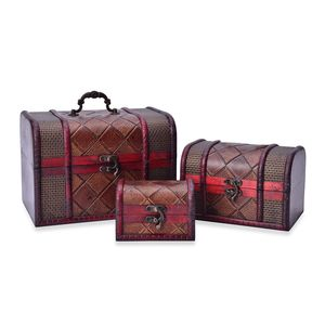 Brown Daimond Pattern Faux Leather Set of 3 Jewelry Box (8.6x6.3x6.3, 6.1x4.5x4.5, 4.5x2.9x2.9 in)