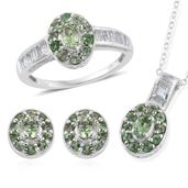 Brazilian Mint Garnet, White Topaz Platinum Over Sterling Silver Earrings, Ring (Size 9) and Pendant With Chain (20 in) TGW 3.860 cts.