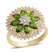 Russian Diopside, Tanzanite 14K YG Over Sterling Silver Ring (Size 8.0) TGW 3.130 cts.