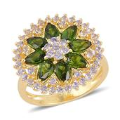 Russian Diopside, Tanzanite 14K YG Over Sterling Silver Ring (Size 9.0) TGW 3.130 cts.