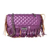 TLV J Francis - Plum Checkered Fringe Faux Leather Shoulder Bag (9.5x3x9 in)