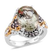 Green Amethyst, Bekily Color Change Garnet 14K YG and Platinum Over Sterling Silver Openwork Ring (Size 7.0) TGW 5.740 cts.