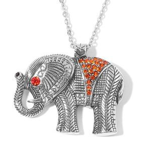 Orange Austrian Crystal Stainless Steel Elephant Pendant With Chain (20 in)