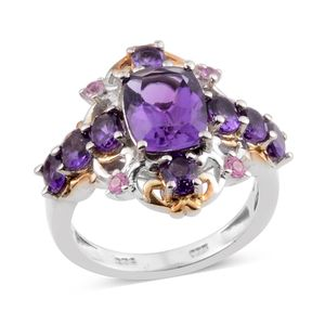 Lusaka Amethyst, Madagascar Pink Sapphire 14K YG and Platinum Over Sterling Silver Ring (Size 7.0) TGW 3.33 cts.