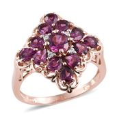 Purple Garnet, White Zircon 14K RG Over Sterling Silver Ring (Size 6.0) TGW 3.23 cts.