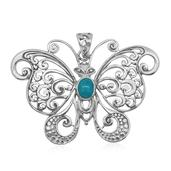 Bali Legacy Collection Arizona Sleeping Beauty Turquoise Sterling Silver Openwork Butterfly Pendant without Chain TGW 0.900 Cts.