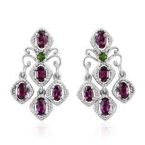Purple Garnet, Russian Diopside Platinum Over Sterling Silver Chandelier Earrings TGW 3.15 cts.