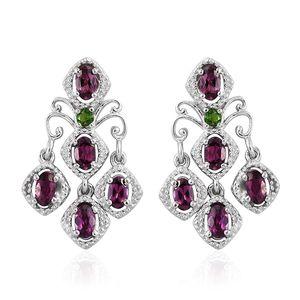 Purple Garnet, Russian Diopside Platinum Over Sterling Silver Chandelier Earrings TGW 3.15 cts.