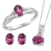 Pure Pink Mystic Topaz Platinum Over Sterling Silver Stud Earrings, Split Ring (Size 10) and Pendant With Stainless Steel Chain (20 in) TGW 3.760 cts.