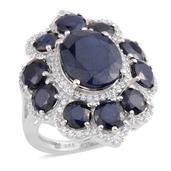 Kanchanaburi Blue Sapphire, White Zircon Platinum Over Sterling Silver Split Ring (Size 6.0) TGW 11.590 cts.