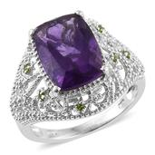 Lusaka Amethyst, Russian Diopside Platinum Over Sterling Silver Openwork Ring (Size 10.0) TGW 6.53 cts.