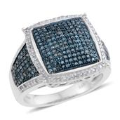 Blue Diamond (IR), Diamond Blue Rhodium & Platinum Over Sterling Silver Ring (Size 10.0) TDiaWt 1.00 cts, TGW 1.00 cts.
