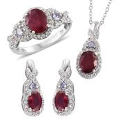 Niassa Ruby, Tanzanite, White Zircon Platinum Over Sterling Silver Earrings, Ring (Size 8) and Pendant With Chain (20 in) TGW 7.95 cts.