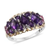 Lusaka Amethyst, Mahenge Pink Spinel 14K YG and Platinum Over Sterling Silver Ring (Size 7.0) TGW 4.360 cts.