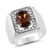 Stainless Steel Men's Ring (Size 10.0) Made with SWAROVSKI Brown and White Crystal