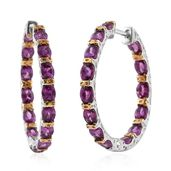 Purple Garnet 14K YG and Platinum Over Sterling Silver Inside Out Huggie Hoop Earrings TGW 6.04 cts.