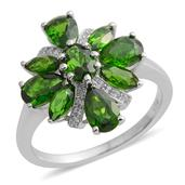Russian Diopside, White Zircon Sterling Silver Ring (Size 8.0) TGW 3.350 cts.