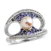 Pearl Expressions Japanese Akoya Pearl, Multi Gemstone Sterling Silver Split Concave Ring (Size 8.0) TGW 0.90 cts.