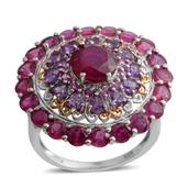 Niassa Ruby, Lusaka Amethyst, Madagascar Pink Sapphire 14K YG and Platinum Over Sterling Silver Statement Ring (Size 10.0) TGW 9.80 cts.