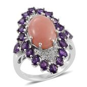 Peruvian Pink Opal, Amethyst, White Zircon Platinum Over Sterling Silver Elongated Ring (Size 7.0) TGW 8.15 cts.