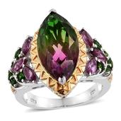 Watermelon Quartz, Orissa Rhodolite Garnet, Russian Diopside 14K YG and Platinum Over Sterling Silver Ring (Size 7.0) TGW 11.240 cts.