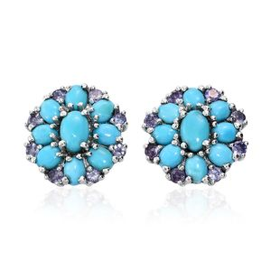Arizona Sleeping Beauty Turquoise, Tanzanite Platinum Over Sterling Silver Floral Stud Earrings TGW 4.67 cts.
