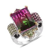 Watermelon Quartz, Multi Gemstone 14K YG and Platinum Over Sterling Silver Statement Ring (Size 8.0) TGW 22.46 cts.