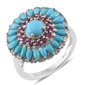 Arizona Sleeping Beauty Turquoise, Orissa Rhodolite Garnet, Cambodian Zircon Platinum Over Sterling Silver Ring (Size 6.0) TGW 3.82 cts.