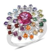 Pure Pink Mystic Topaz, Multi Gemstone Platinum Over Sterling Silver Ring (Size 6.0) TGW 4.05 cts.
