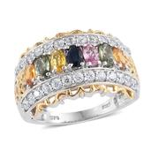 Multi Sapphire, Cambodian Zircon 14K YG and Platinum Over Sterling Silver Ring (Size 7.0) TGW 3.710 cts.