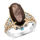 Chocolate Sapphire, Arizona Sleeping Beauty Turquoise 14K YG and Platinum Over Sterling Silver Ring (Size 6.0) TGW 14.10 cts.