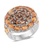 Yellow and Orange Sapphire, Jenipapo Andalusite 14K YG and Platinum Over Sterling Silver Ring (Size 6.0) TGW 6.310 cts.