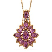 Purple Garnet, White Zircon 14K YG Over Sterling Silver Pendant With Chain (20 in) TGW 2.20 cts.