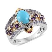 Arizona Sleeping Beauty Turquoise, Multi Gemstone 14K YG and Platinum Over Sterling Silver Bridge Ring (Size 6.0) TGW 2.57 cts.