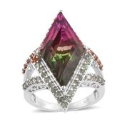 Watermelon Quartz, Green and Red Sapphire Platinum Over Sterling Silver Elongated Split Ring (Size 9.0) TGW 15.21 cts.
