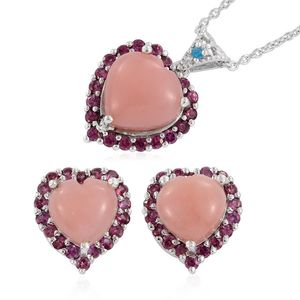 Peruvian Pink Opal, Orissa Rhodolite Garnet, Malgache Neon Apatite Platinum Over Sterling Silver Heart Earrings and Pendant With Chain (20 in) TGW 13.95 cts.