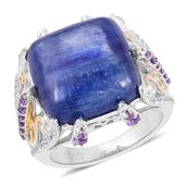 Himalayan Kyanite, Amethyst, White Topaz 14K YG Over and Sterling Silver Openwork Ring (Size 6.0) TGW 15.32 cts.
