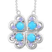 Multi Wear Arizona Sleeping Beauty Turquoise, Tanzanite Sterling Silver Heart Princess Necklace (18 in) TGW 1.87 cts.