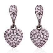 Simulated Pink Diamond Black Rhodium Over Sterling Silver Heart Dangle Earrings TGW 1.00 cts.