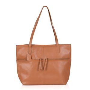 Tan 100% Genuine Leather RFID Tote Bag (12.5x5x12 in)