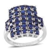 Kanchanaburi Blue Sapphire Sterling Silver Cluster Ring (Size 9.0) TGW 5.10 cts.