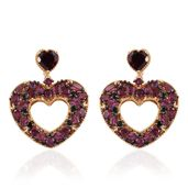 GP Orissa Rhodolite Garnet, Thai Black Spinel 14K YG Over Sterling Silver Dangle Heart Earrings TGW 12.55 cts.