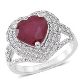 Niassa Ruby, Cambodian White Zircon Sterling Silver Outline Heart Split Ring (Size 6.0) TGW 6.21 cts.