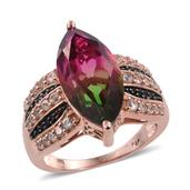 Watermelon Quartz, White Zircon, Thai Black Spinel 14K RG Over Sterling Silver Ring (Size 10.0) TGW 10.43 cts.