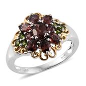 Red Zircon, Russian Diopside 14K YG and Platinum Over Sterling Silver Ring (Size 5.0) TGW 2.70 cts.