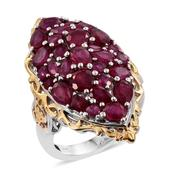 Niassa Ruby 14K YG and Platinum Over Sterling Silver Cluster Elongated Ring (Size 10.0) TGW 10.56 cts.