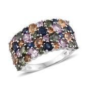 Multi Sapphire Platinum Over Sterling Silver Cluster Ring (Size 6.0) TGW 6.13 cts.